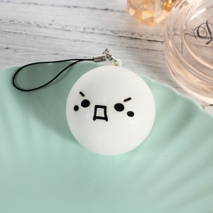 Cute Emoji Foam Plastic Soft Squishy Toy Key Chain Smartphone Hanger Hand Squeeze Toy - Style A
