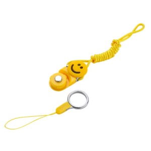 Quick-Release Ring Wrist Hand Strap Detachable Mobile Phone Neck Strap Lanyard - Yellow / Smile