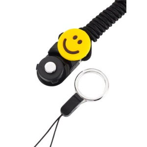 Detachable Cell Phone Neck Lanyard Strap Universal Ring Lanyard Long Neck Strap - Black / Smile