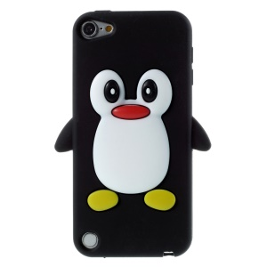 3D Penguin Silicone Case for iPod Touch 5 / Touch 6 - Black