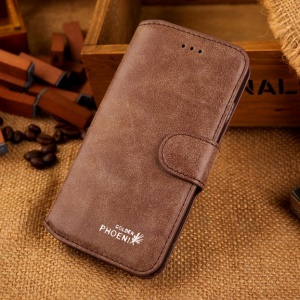 Golden Phoenix Genuine Split Leather Shell for iPhone 6s / 6 4.7-inch - Coffee