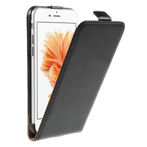 Genuino Split cuero tapa vertical para iPhone 6s / 6 4.7 pulgadas - Negro