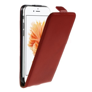 Genuine Split Leather Vertical Flip Cover for iPhone 6s / 6 4.7-inch - Red