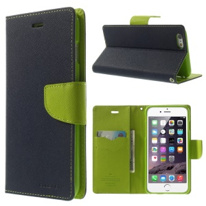 Mercury GOOSPERY Fancy Diary Leather Wallet Cover for iPhone 6 Plus / 6s Plus w/ Stand - Dark Blue