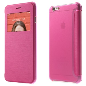 View Window Brushed Leather Folio Case for iPhone 6s Plus / 6 Plus 5.5 inch - Rose