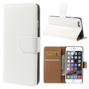 Genuine Split Leather Wallet Stand Case Shell for iPhone 6s / 6 4.7 inch - White