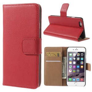 Genuine Split Leather Wallet Stand Case Shell for iPhone 6s / 6 4.7 inch - Red