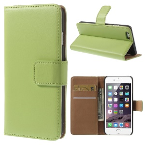 Genuine Split Leather Wallet Stand Cover para iPhone 6s / 6 4.7 inch - verde