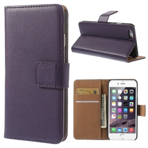 Genuine Split Leather Wallet Stand Cover for iPhone 6s / 6 4.7 inch - Purple