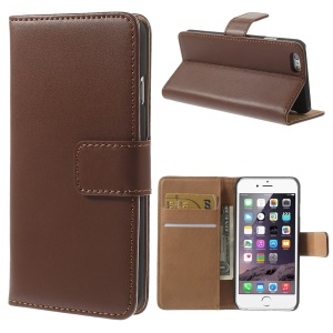 Genuine Split Leather Wallet Stand Cover for iPhone 6s / 6 4.7 inch - Brown