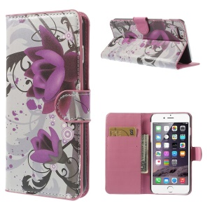 Lotus Flower Wallet Leather Skin Case for iPhone 6 Plus 5.5 inch