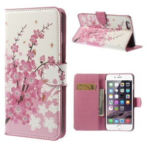 Pink Plum Wallet Leather Stand Case for iPhone 6 Plus 5.5 inch