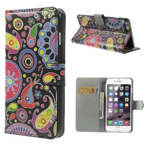 Paisley Flowers Wallet Leather Skin Cover for iPhone 6 Plus 5.5 inch