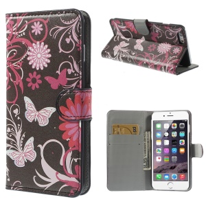 Butterfly & Flower for iPhone 6 Plus 5.5 inch Stand Leather Protective Cover