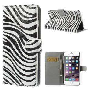Fashion Zebra Leather Folio Stand Case for iPhone 6 Plus 5.5 inch
