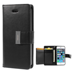 Mercury GOOSPERY Rich Diary Leather Card Holder Case for iPhone SE 5s 5 - Black