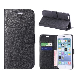 Litchi Leather Wallet Bracket Case for iPhone 6s Plus / 6 Plus - Black