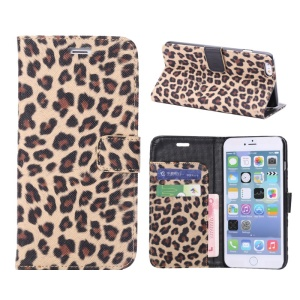 Leopard Wallet Leather Case for iPhone 6s Plus / 6 Plus w/ Stand - Brown