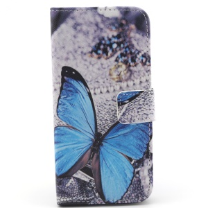 Blue Butterfly PU Leather Protective Case for iPhone 6