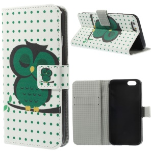 Polka Dots & Owl Leather Wallet Stand Cover for iPhone 6s / 6 4.7 inch