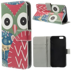 Colorized Owl Leather Wallet Stand Cover for iPhone 6 4.7 inch