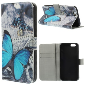 Vivid Butterfly Leather Wallet Stand Cover Shell for iPhone 6 4.7 inch