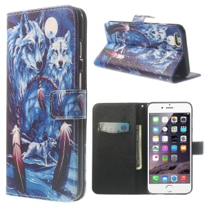 Two Wolves Wallet Leather Stand Case for iPhone 6s Plus / 6 Plus