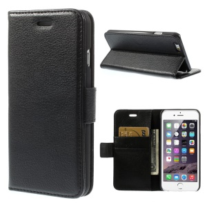 Litchi Texture PU Leather Wallet Stand Phone Shell for iPhone 6 4.7 inch - Black