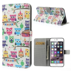 Owls Carnival Pattern Leather Wallet Shell for iPhone 6 Plus w/ Stand