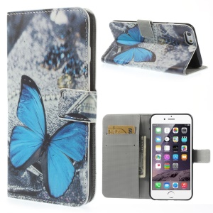 Blue Butterfly Pattern Wallet Leather Shell for iPhone 6s Plus / 6 Plus w/ Stand