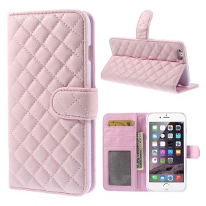 Rhombus Pattern Leather Wallet Stand Cover for iPhone 6 Plus / 6s Plus - Pink