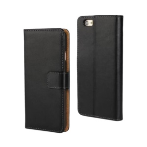 Genuine Split Leather Case for iPhone 6s Plus / 6 Plus w/ Stand & Card Slots - Black