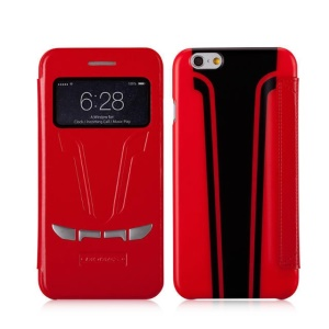 MOMAX Sportscar Window View Leather Flip Cover for iPhone 6 / 6s 4.7 inch - Red