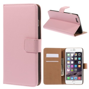Genuine Split Wallet Stand Leather Shell for iPhone 6s Plus / 6 Plus - Pink