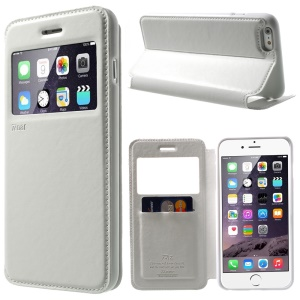 Roar Korea Noble View Window Leather Case for iPhone 6 Plus / 6s Plus w/ Card Slot - White