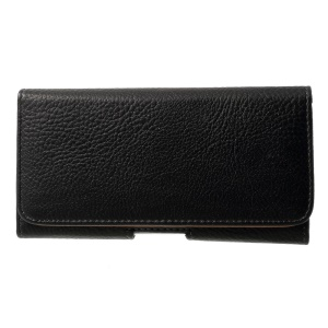 Black for iPhone 6 Plus / 6s Plus Leather Holster Pouch Litchi Texture, Size: 15.5 x 8.1 x 1cm