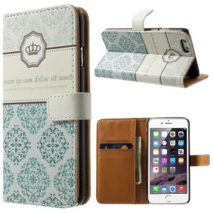 Crown & Moroccan Pattern Wallet Stand Leather Protective Case for iPhone 6
