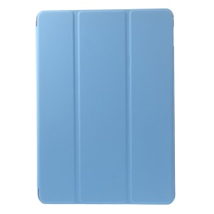 For iPad 9.7-inch (2018)/9.7-inch (2017)/Air 2/Air Tri-fold Stand Leather Shell Cover - Baby Blue