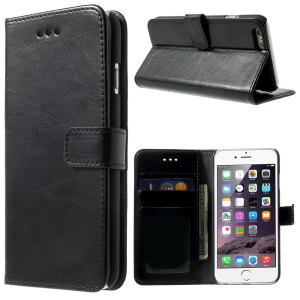 2-in-1 for iPhone 6s 6 4.7-inch Oil Wax Leather Wallet Cover + Detachable PC Case - Black