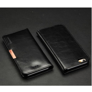 KLD Royale II Series for iPhone 6 6s (4.7) Genuine Leather Magnetic Flip Case - Black