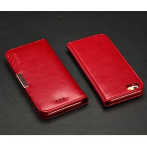 KLD Royale II Series for iPhone 6 6s (4.7) Genuine Leather Magnetic Flip Cover - Red