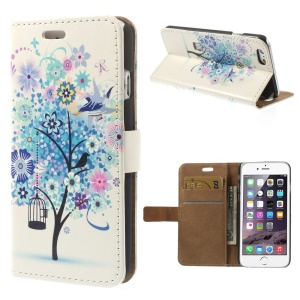 Leather Card Slot Stand Cover for iPhone 6 Plus - Blue Flower Tree