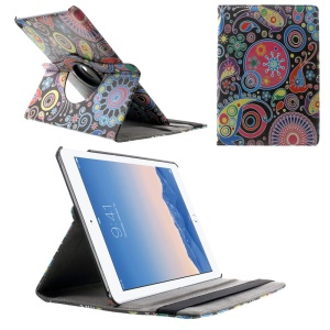 Paisley Flower 360 Swivel Stand Smart Leather Case w/ Elastic Band for iPad Air 2