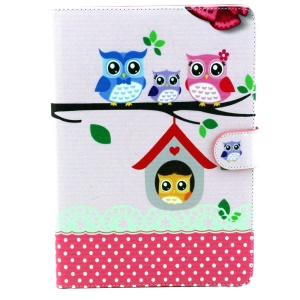 For iPad Air 2 Owls Family Wallet Leather Case w/ Stand