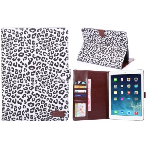 Leopard Texture Smart Leather Case with Stand & Card Holder for iPad Air 2 - White