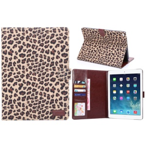 Leopard Texture Wallet Style Smart Leather Cover with Stand for iPad Air 2 - Brown