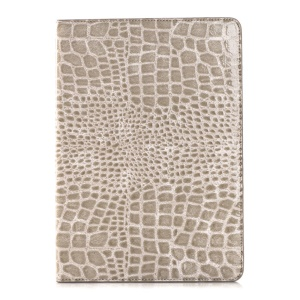 Crocodile Texture Leather Wallet Bracket Case for iPad Air 2 - Grey