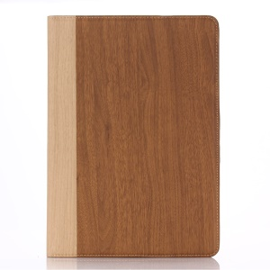 Wood Grain Leather Wallet Stand Cover for iPad Air 2 - Brown