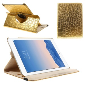 Gold Crocodile Texture PU Leather Cover Case for iPad Air 2 w/ 360 Degree Rotary Stand