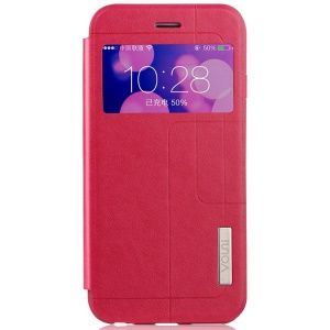 VOUNI Unique Window View Leather Pretective Case for iPhone 6 / 6s 4.7 Inch - Red